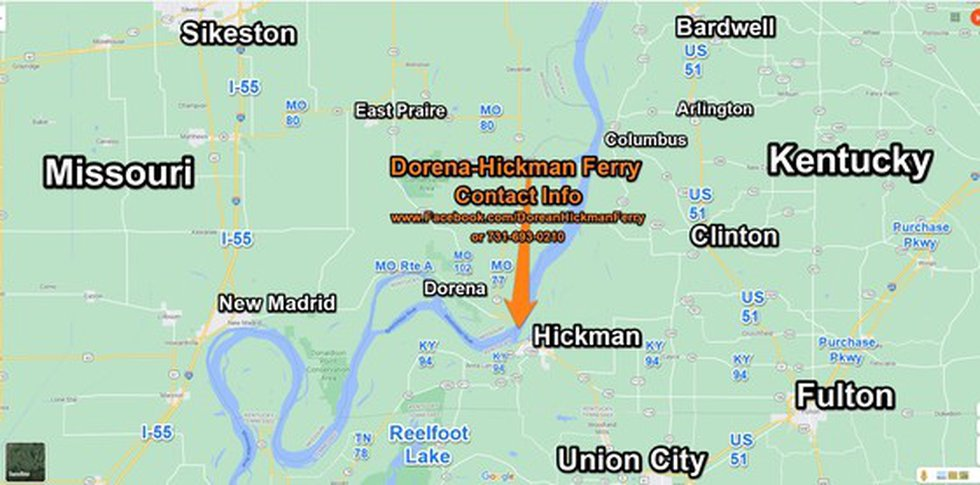 The Dorena-Hickman Ferry operates at Mississippi River navigation mile point 922.0.