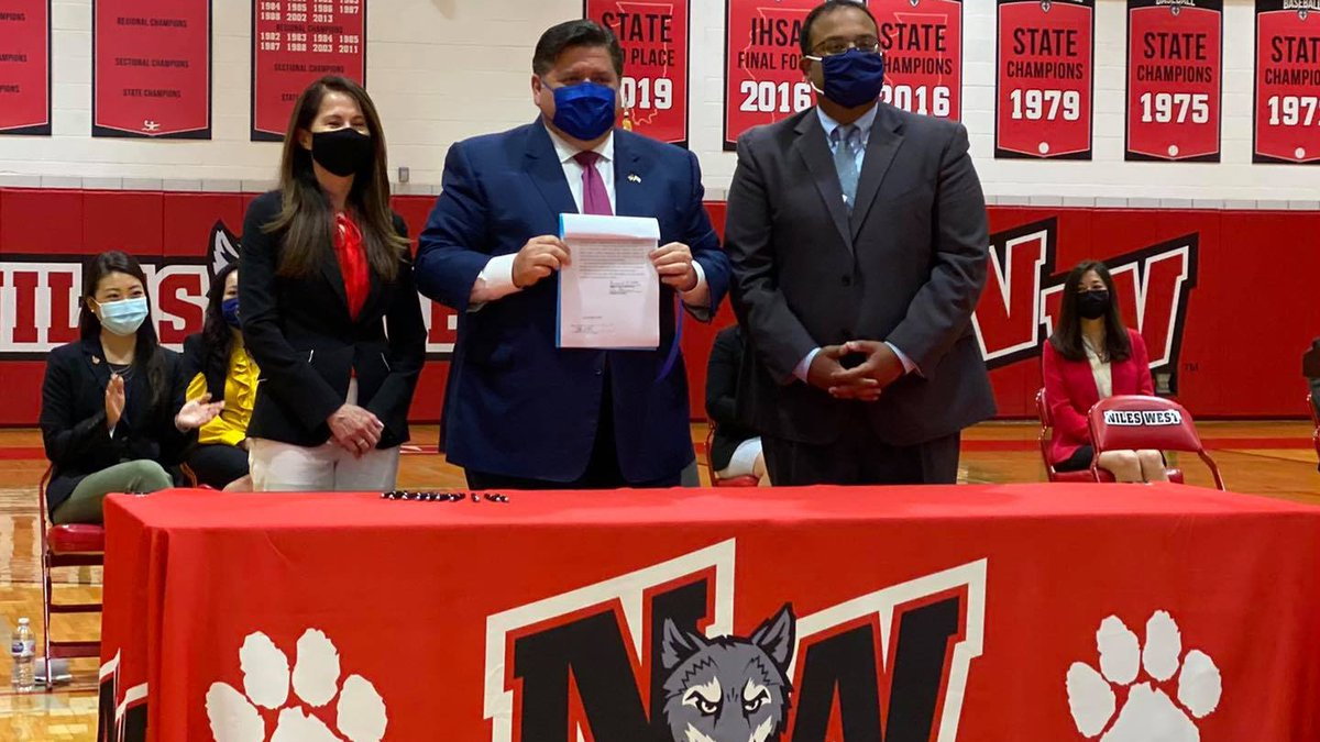 Gov. JB Pritzker signed a bill into law at Niles West High School in Skokie on Friday.  The...