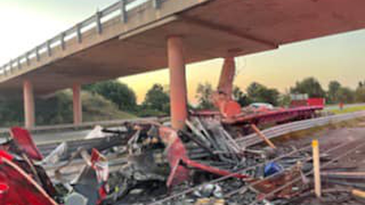 A man was seriously hurt after the SEMI truck he was driving ran off the road and hit a bridge...
