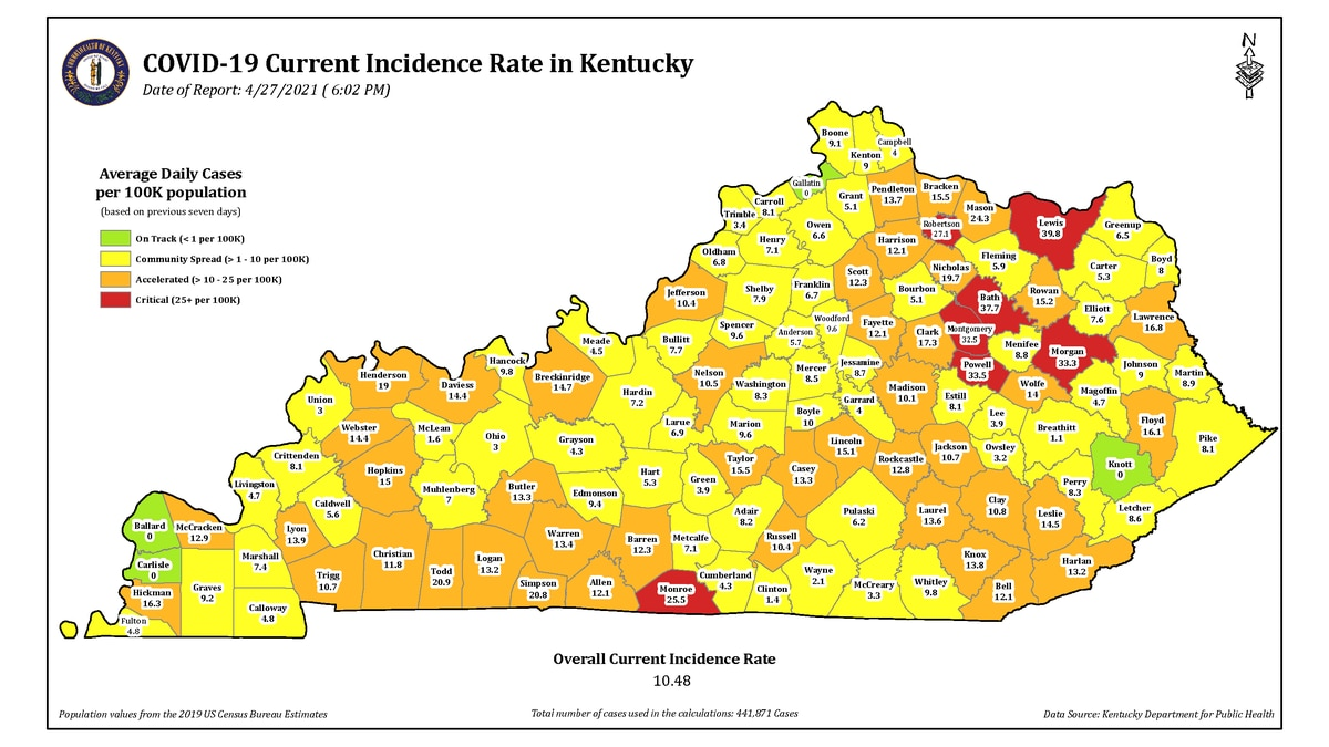 Cases of COVID-19 in Kentucky as of Thursday, April 29.
