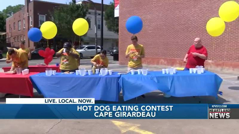 A hot dog eating contest was held in Cape Girardeau, Mo.