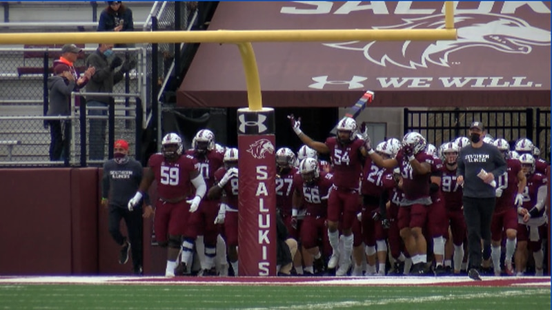 The Saluki's taking the field at one of their home games during the 2021 Spring season.