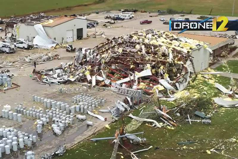 The preliminary report from the National Weather Service showed EF3 tornado damage.