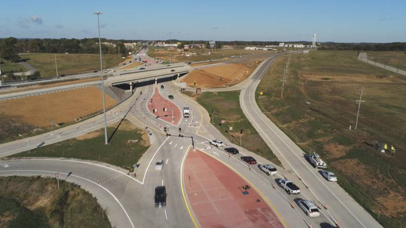 The busy intersection between Cape Girardeau and Jackson saw more lanes opening and traffic...