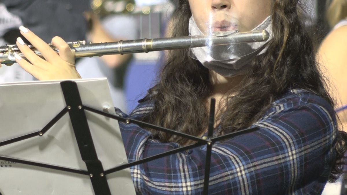 The Marching Royal Dukes of James Madison University find a way to safely rehearse during the...