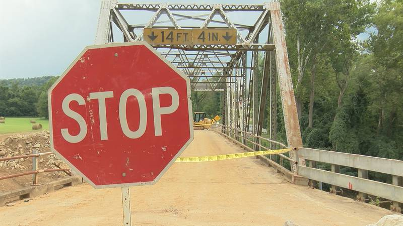 Crews working to replace a bridge along Route C near the community of Jewett, managed to...