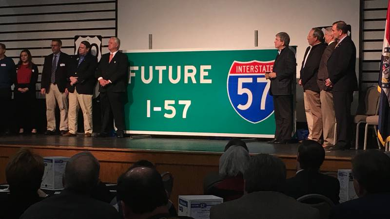 The Future I-57 sign was unveiled at a ceremony on Friday, Feb. 22.
