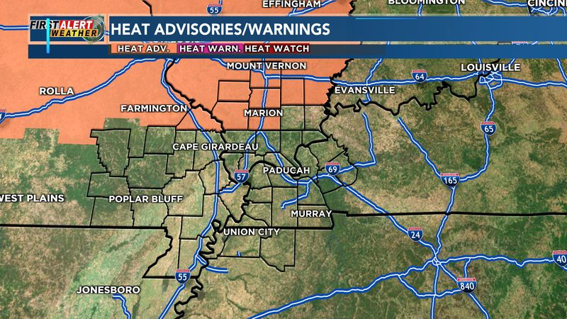 A heat advisory is in effect from 1 p.m. to 7 p.m. on Friday for parts of southeast Missouri...