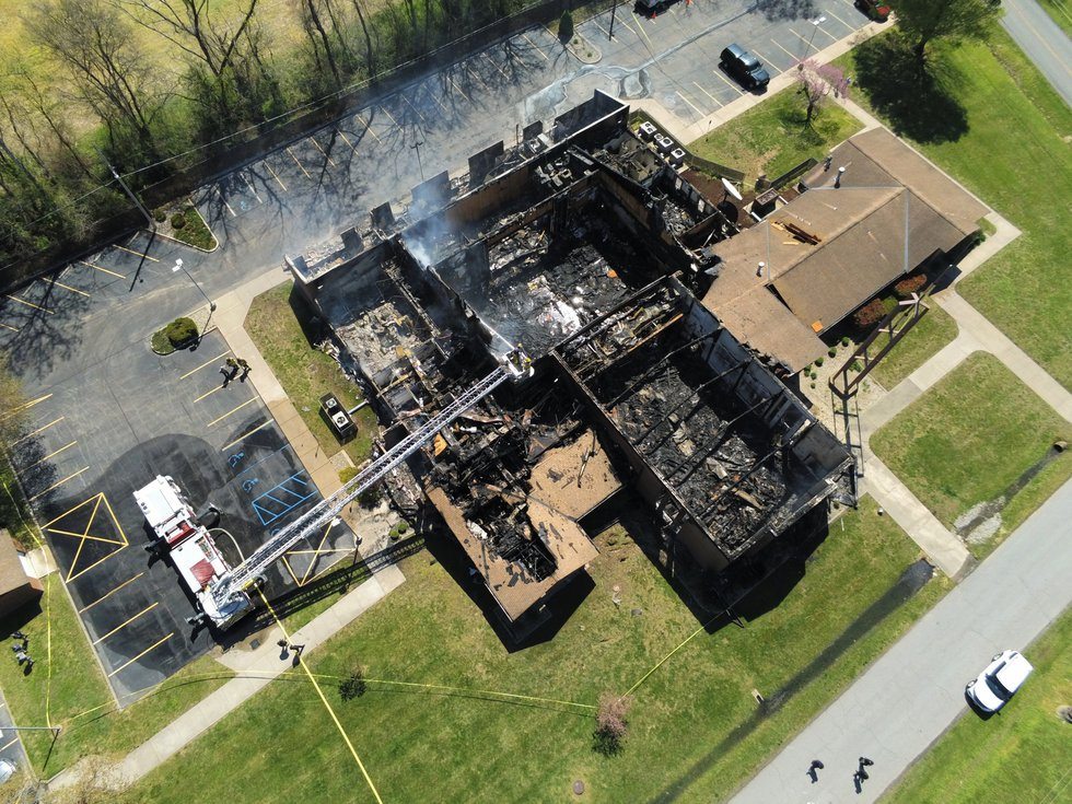 A look at the Cape Girardeau Church of Jesus Christ of Latter-day Saints following a fire on...