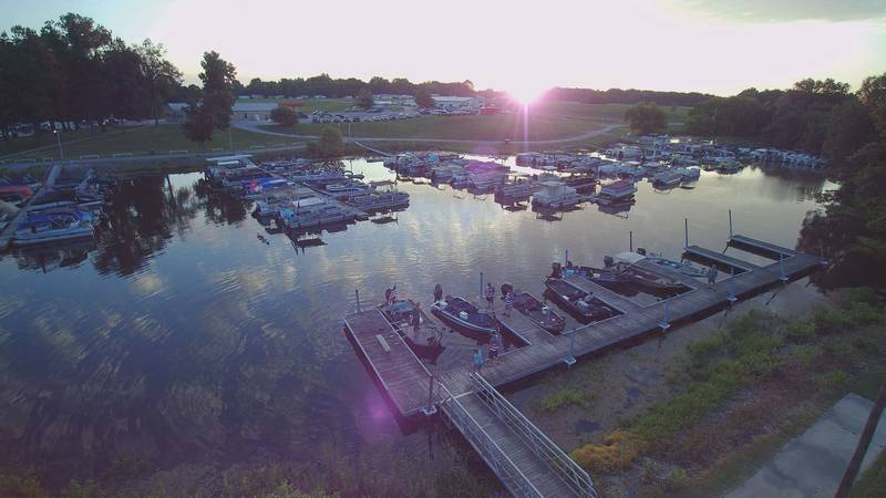 Drone 12 overlooking Kincaid Lake as a group that supports veterans prepares for a fishing...