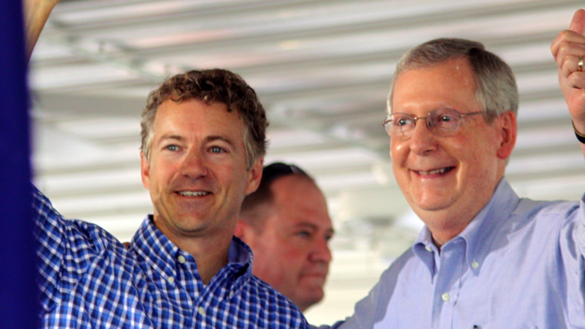 United States Senate candidate Rand Paul and United States Senator Mitch McConnell at the 130th...