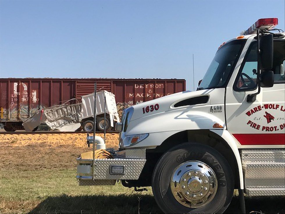 No injuries were reported after a train hit a SEMI truck trailer in Union County, Ill.