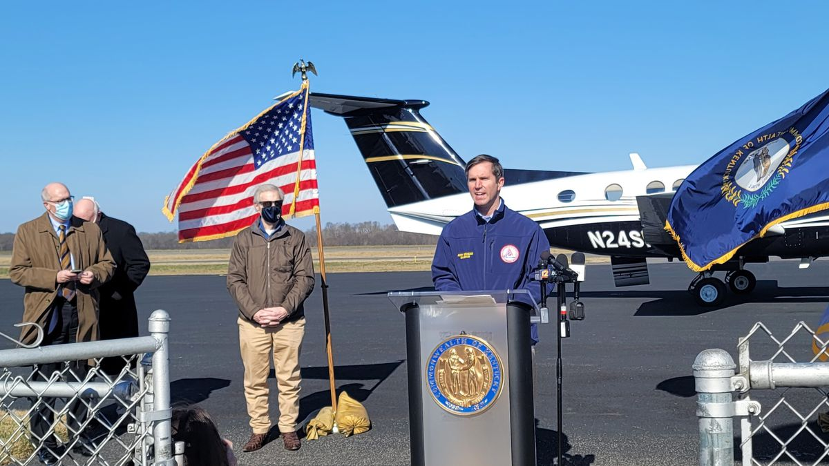 Governor Andy Beshear held a briefing after surveying flooding damage in Calloway County. ...