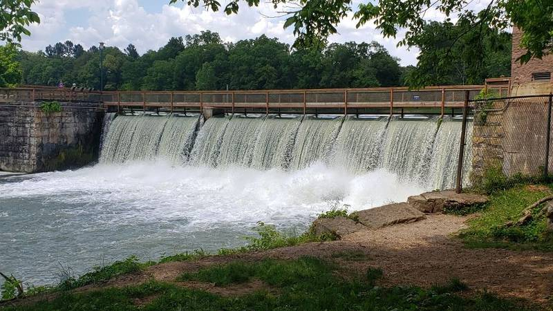 A beautiful view of a dam at Spring River in Hardy, Ark. The river is spring-fed from Mammoth...