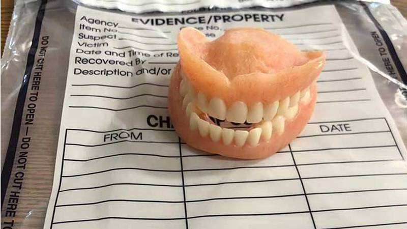 A Jennings County Sheriff's Office deputy found the dentures in the home of the suspect in...