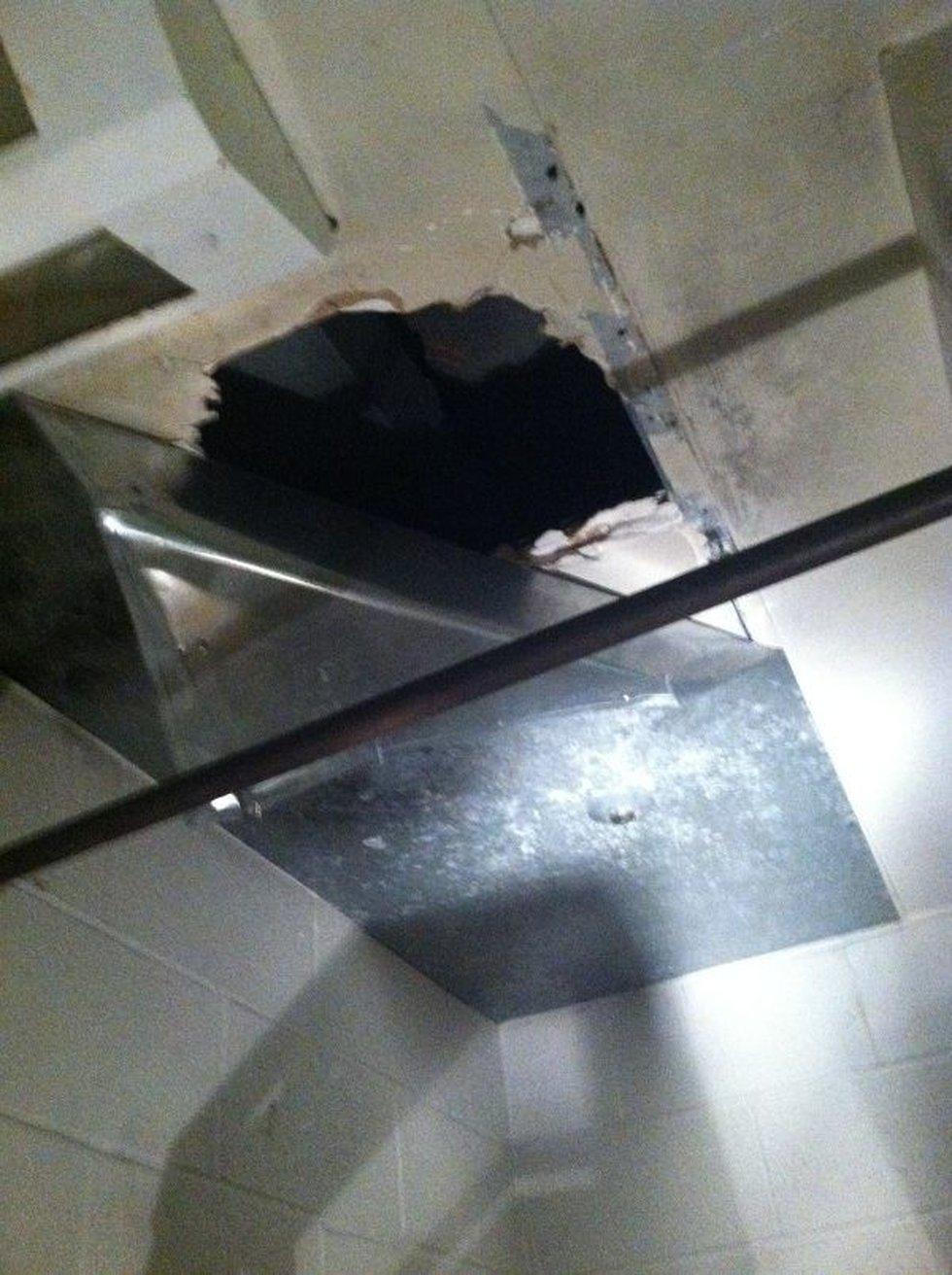 This inmates escaped through this hole in their jail pod. (Source: Todd Tumminia, KFVS)