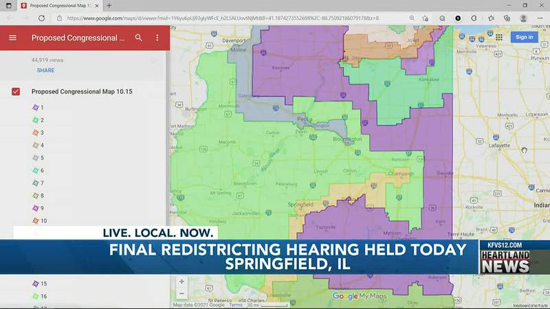 Illinois redistricting hearing for a new map.