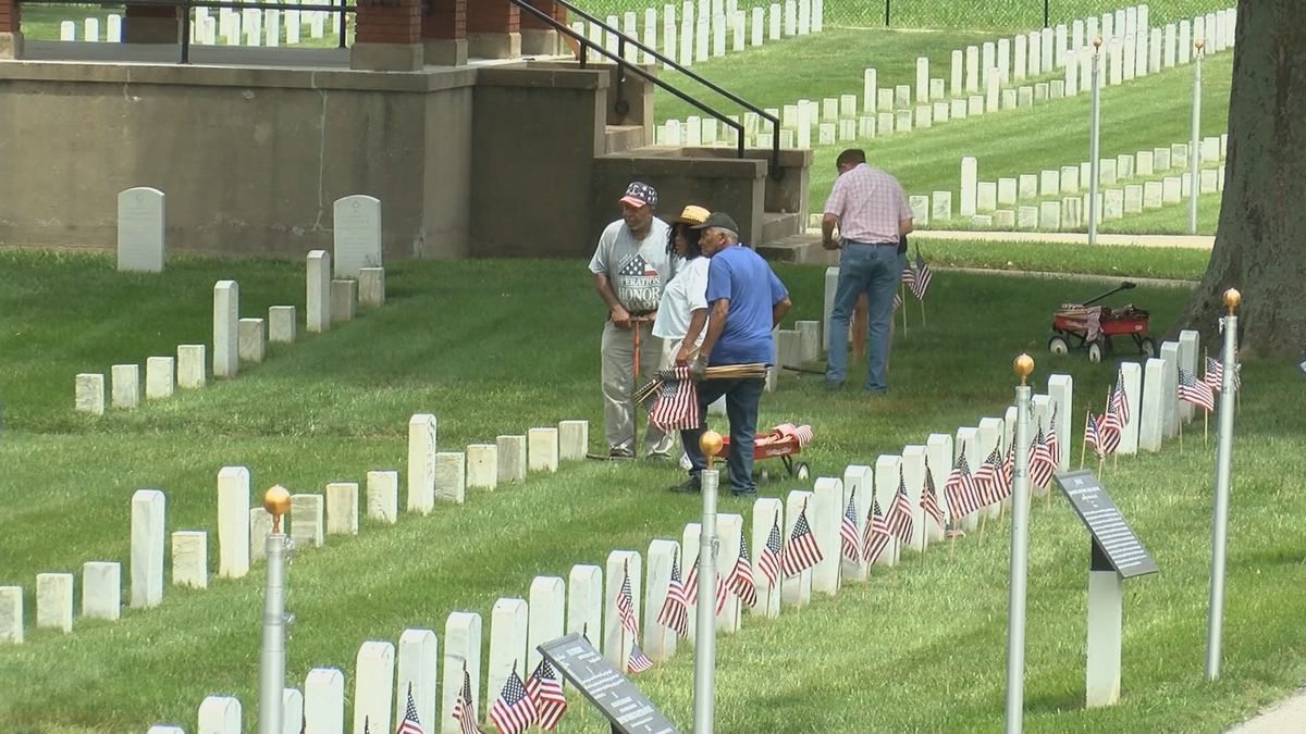 Volunteers placed 9,000 flags at Mound City National Cemetery for Memorial Day.
