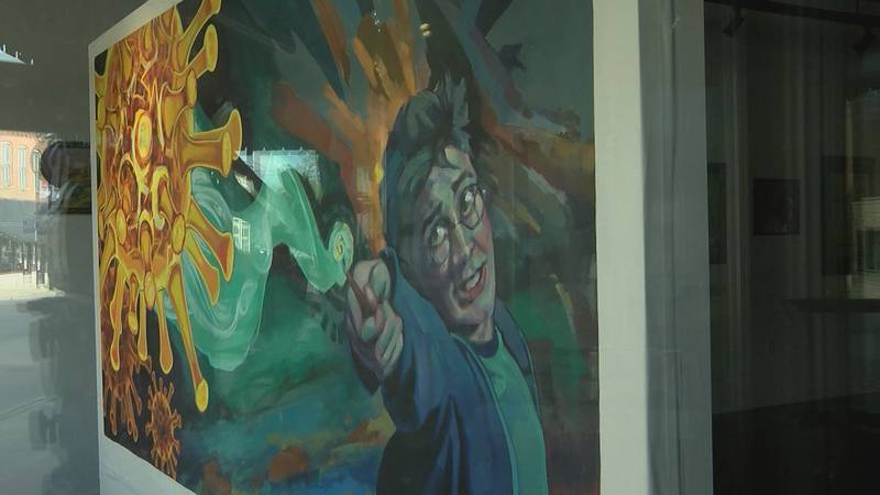 """A Cape Girardeau artist paints a mural featuring Harry Potter called """"Expecto-Coronus."""""""