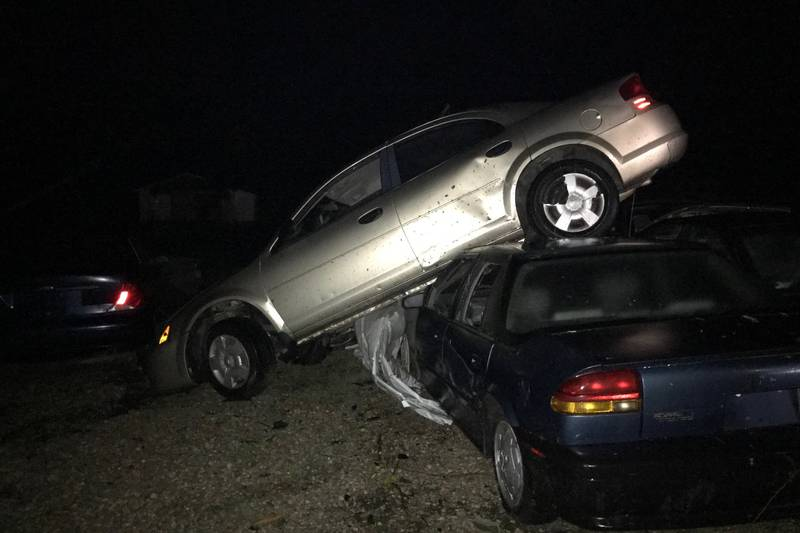 The severe storm that moved through St. Mary on Sunday night was so powerful it lifted car onto...