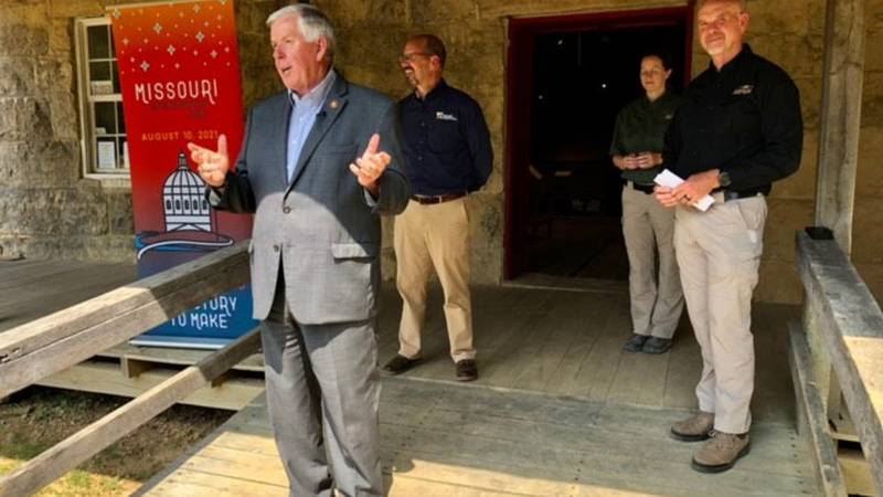 Governor Mike Parson visited Bollinger Mill as part of his Missouri Bicentennial Tour through...