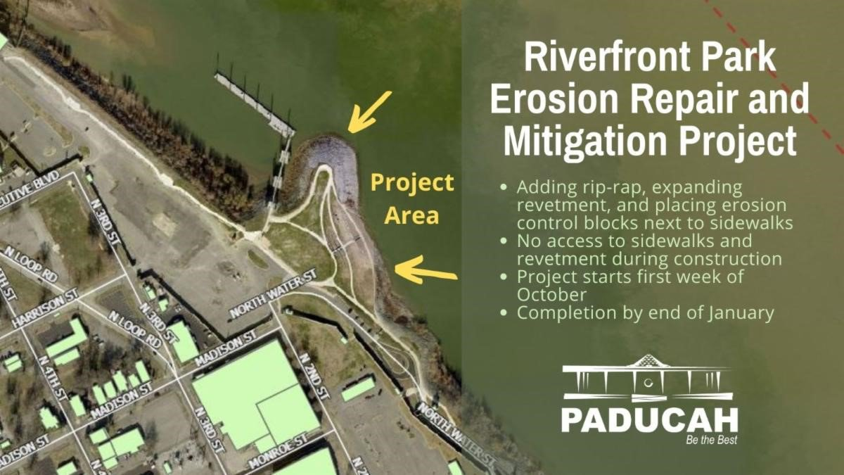 The city of Paducah says a contractor will be working on a Riverfront Park erosion repair and...