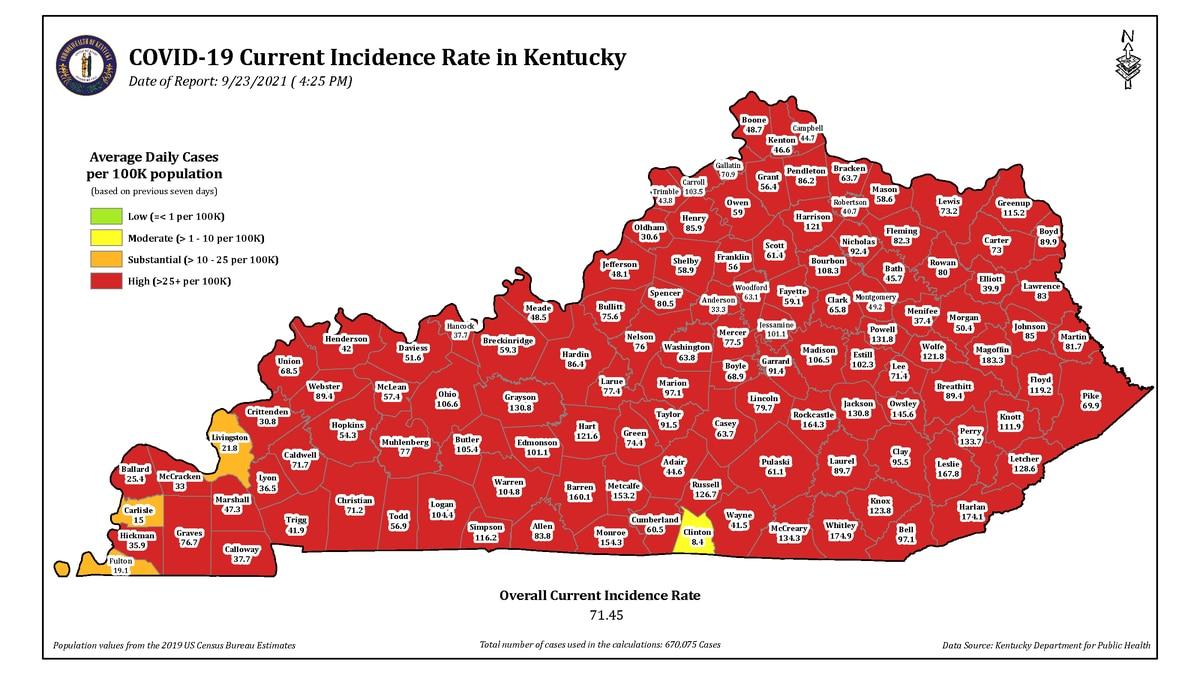 Cases of COVID-19 in Kentucky as of Thursday, September 23.