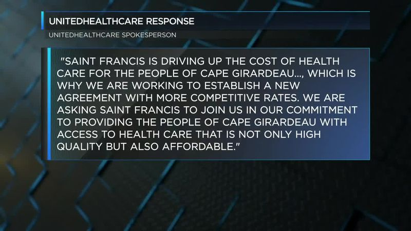 UnitedHealthcare released a statement regarding negotiations with the Saint Francis Health Care...