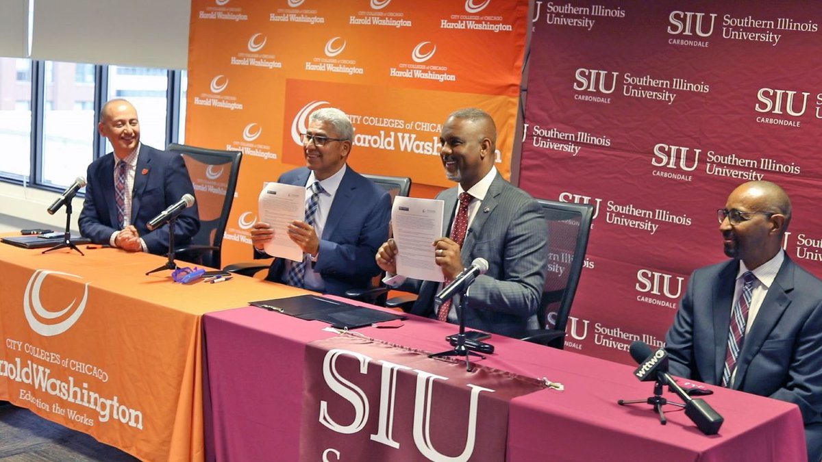 The two institutions signed agreements at Harold Washington College for equity in accounting...