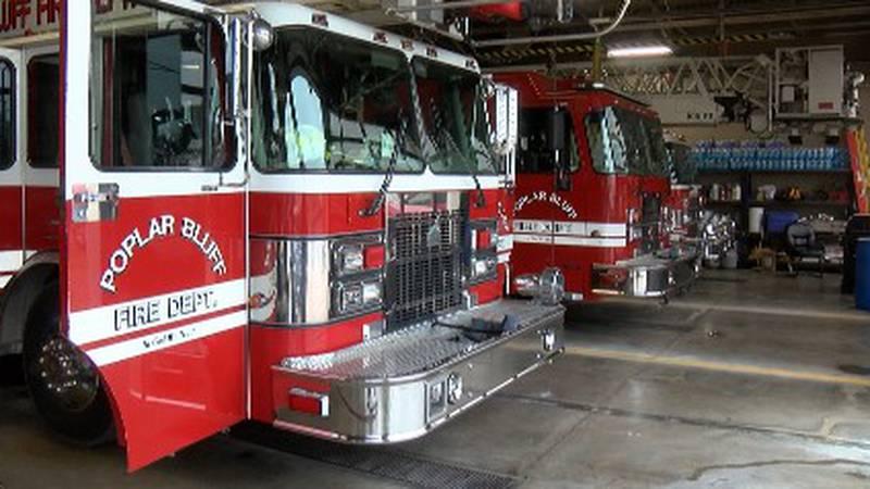 Poplar Bluff fire department trucks ready for their next call.