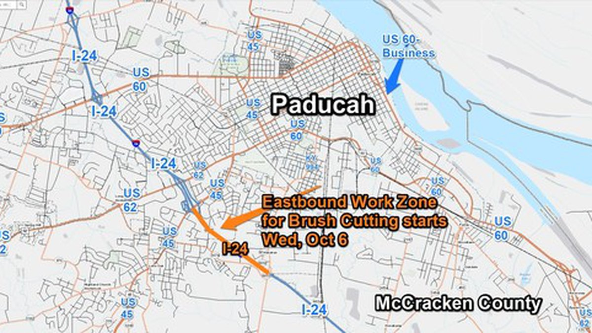A work zone will begin on Wednesday, October 6, at I-24  Eastbound 7 to 9mm in McCracken County.