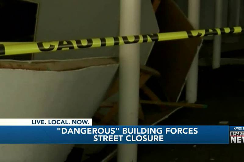 Road closed in Mount Vernon, Ill. due to a dangerous building.