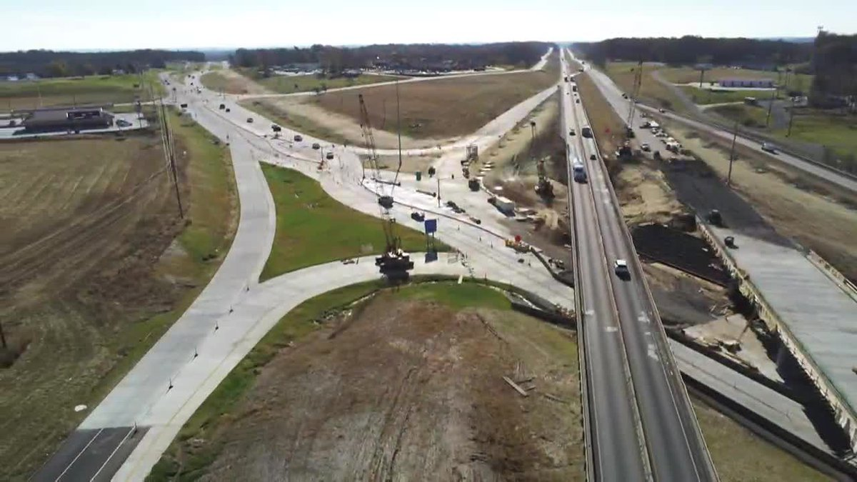 A look at the diverging diamond project at Center Junction on Wednesday, November 11.