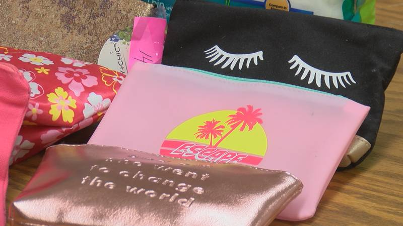 A southern Illinois nurse filled bags with cosmetic hygiene products for students.