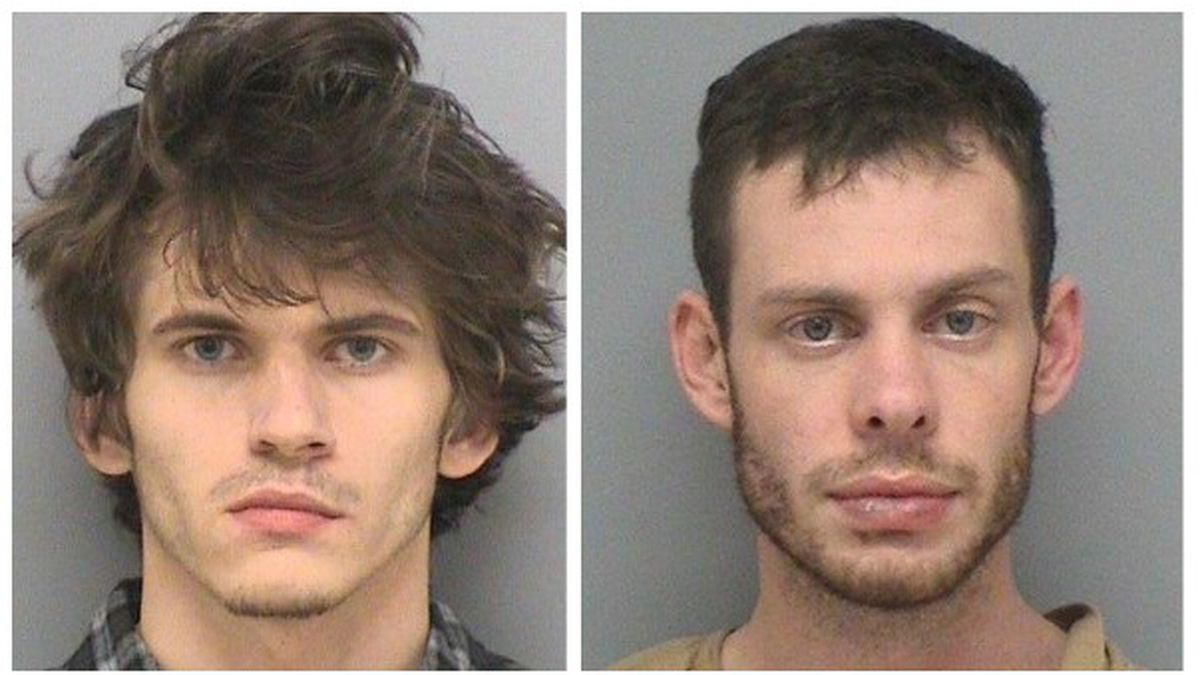 Cody Collins (left) and Austin Kehrer (right) were arrested after a police chase through three...