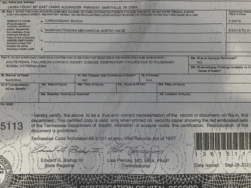 Jack Harmon's death certificate shows that cardiogenic shock and a nonfunctioning mechanical...