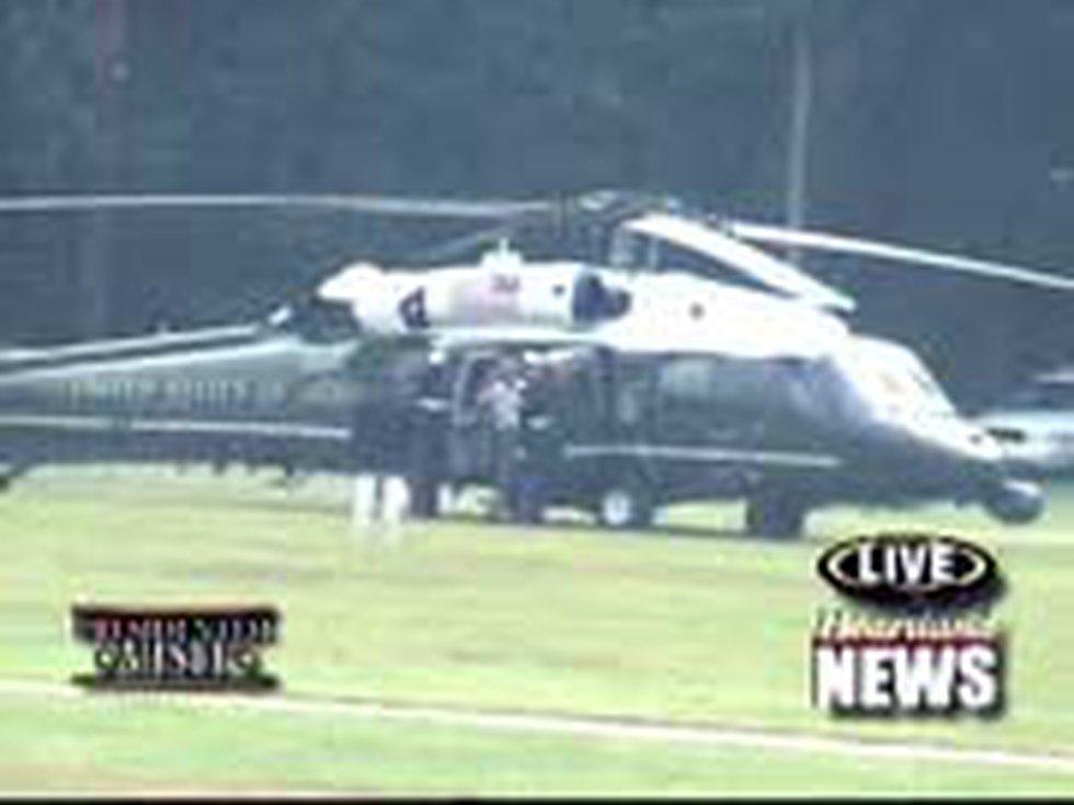 President Bush exiting Marine One.