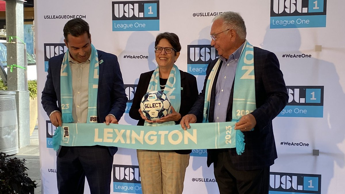 Members from the United Soccer League, Mayor Linda Gorton and Bill Shively, the founder of...