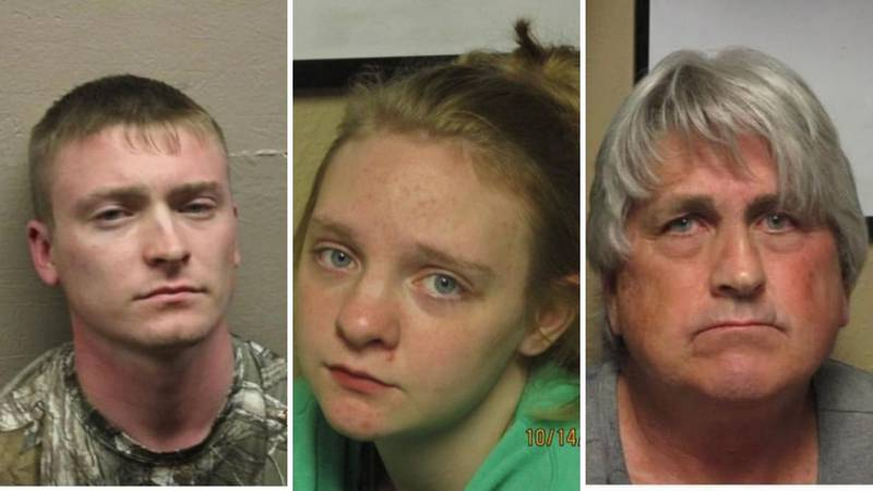 From left: Eric Nanney, Kaitlyn Morgan and Ricky Nanney were charged in connection with the...