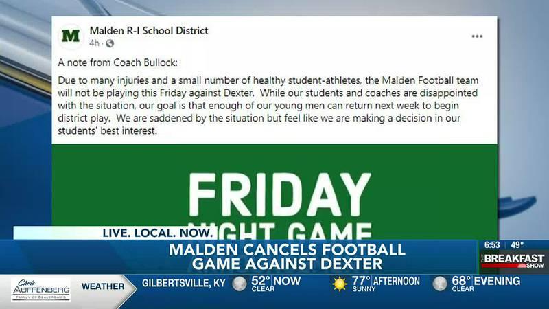 Malden cancels football game against Dexter