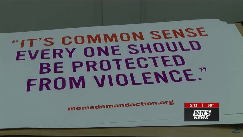 A group of Kentucky mothers in the group Moms Demand Action took to Frankfort on Tuesday, in...