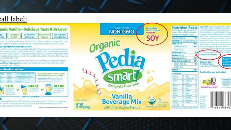 Nature's One is recalling its PediaSmart SOY Vanilla Beverage Mix due to an undeclared milk...